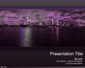 Plantilla de PowerPoint de Rascacielos Nocturnos Gratis