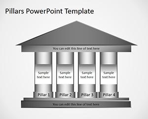 Libre 4 Pilares de Columna Plantilla de PowerPoint