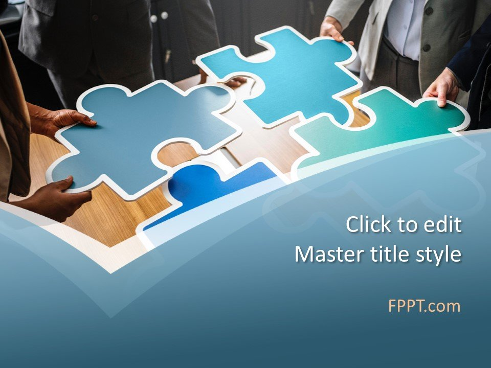 Plantilla de PowerPoint de Puzzle Team gratis