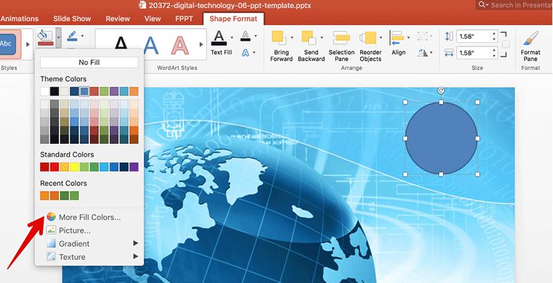 Usando el cuentagotas en PowerPoint 2016 para Mac