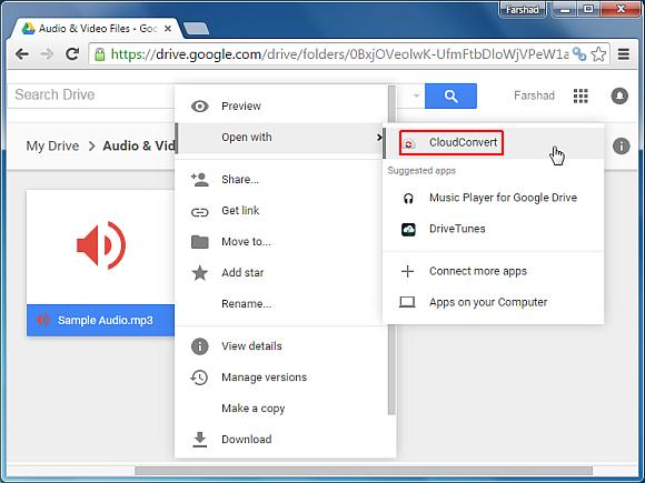Cómo convertir archivos de audio en línea utilizando la unidad de Google
